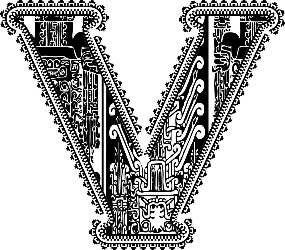 Ancient Letter V. Vector Illustration