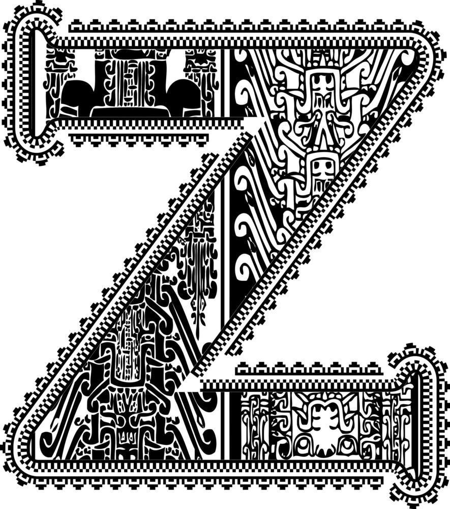 Ancient Letter Z. Vector Illustration