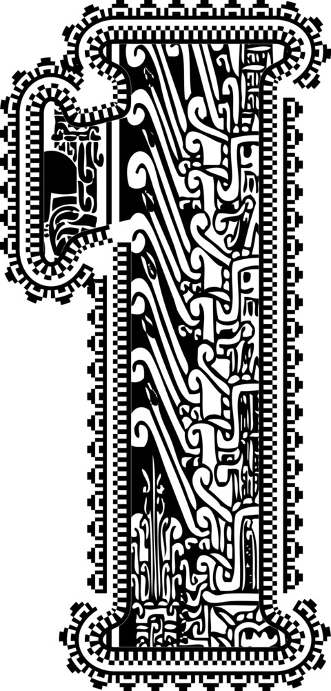 Ancient Number 1. Vector Illustration