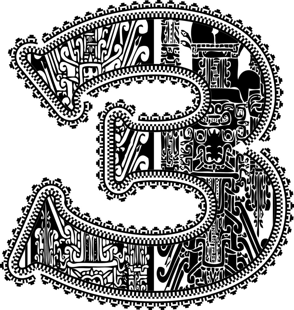 Ancient Number 3. Vector Illustration