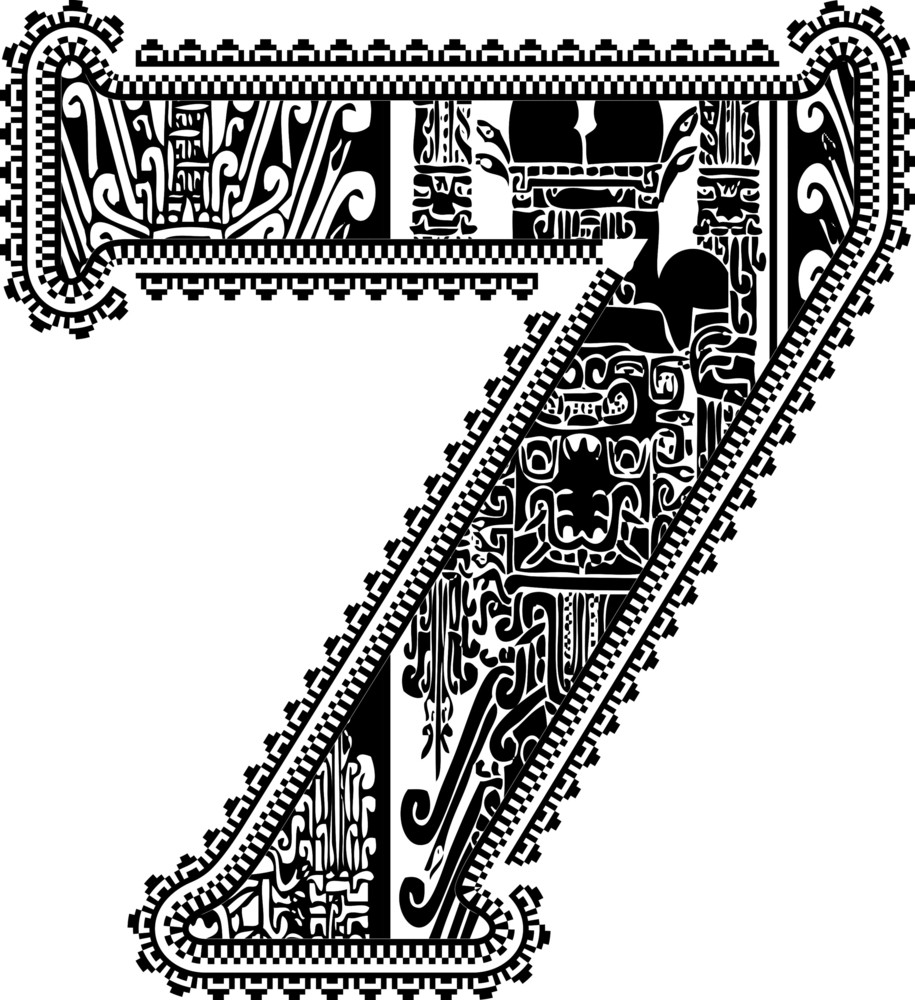 Ancient Number 7. Vector Illustration