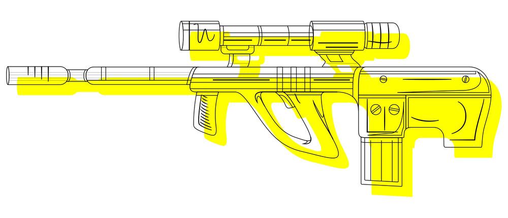 Ancient Shooting Gun Drawing