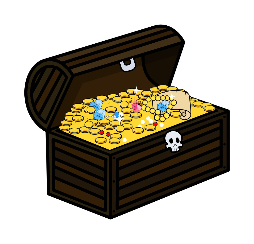 Ancient Treasure Trunk - Cartoon Vector Illustration