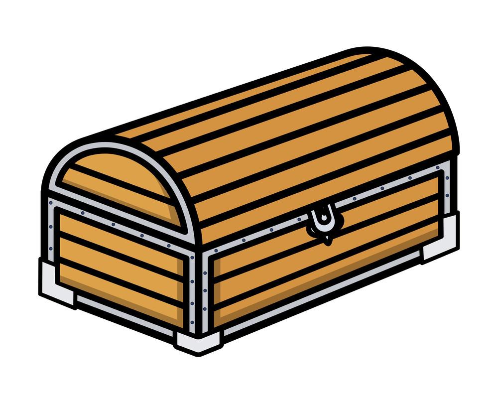 Ancient Treasure Wooden Trunk - Cartoon Vector Illustration