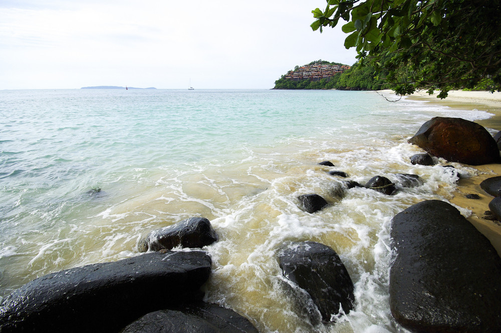 Andaman beach with rock and wave