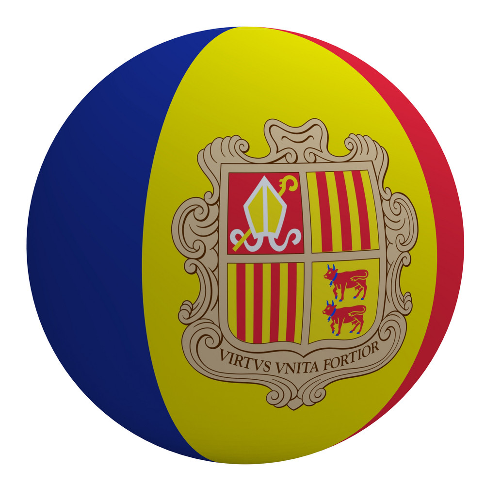 Andora Flag On The Ball Isolated On White.