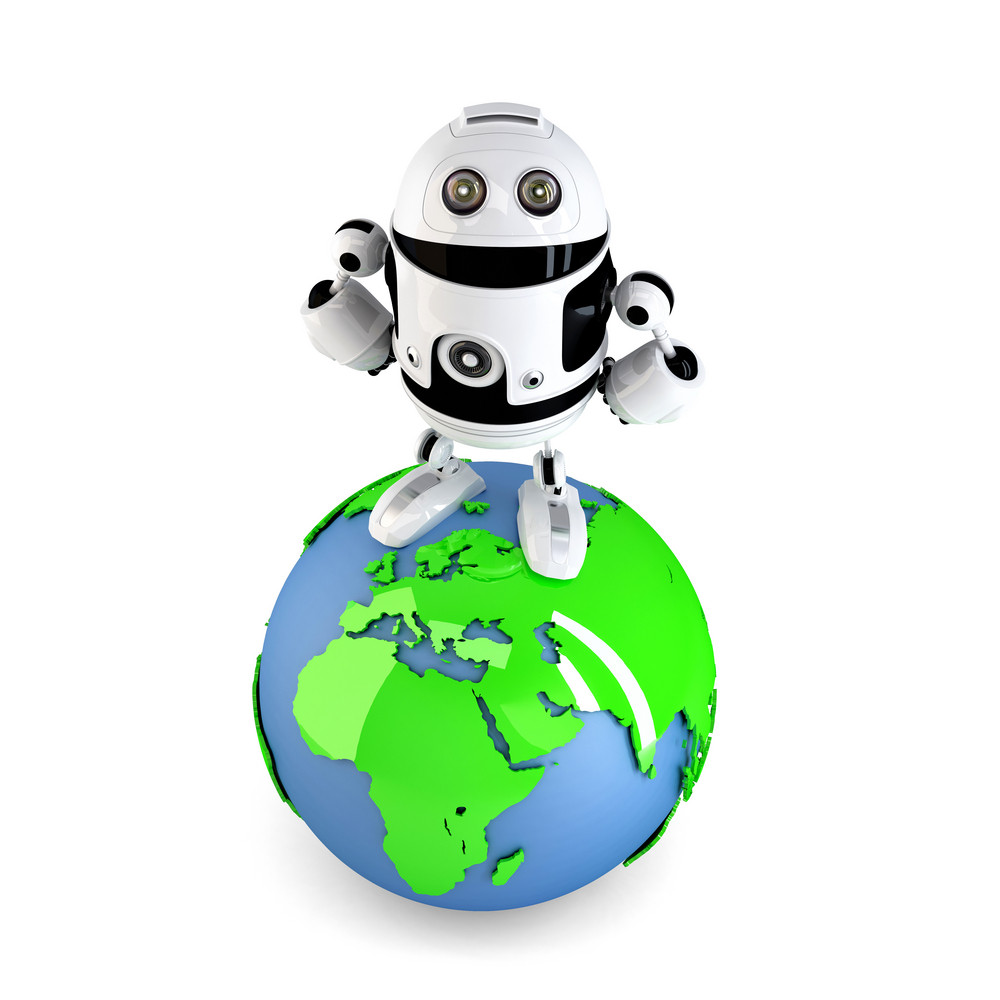 Androi Robot On Top Of The Green Earth Globe.