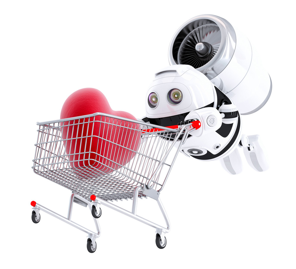 Android Flying With Trolley
