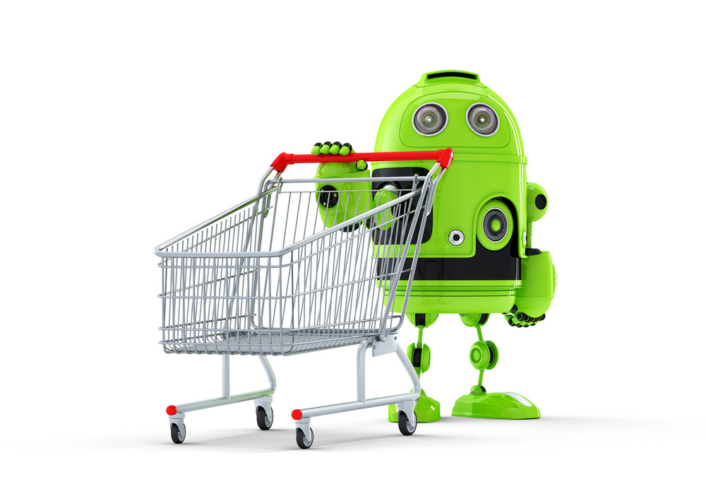 Android Robot And Cart. E-shop Concept
