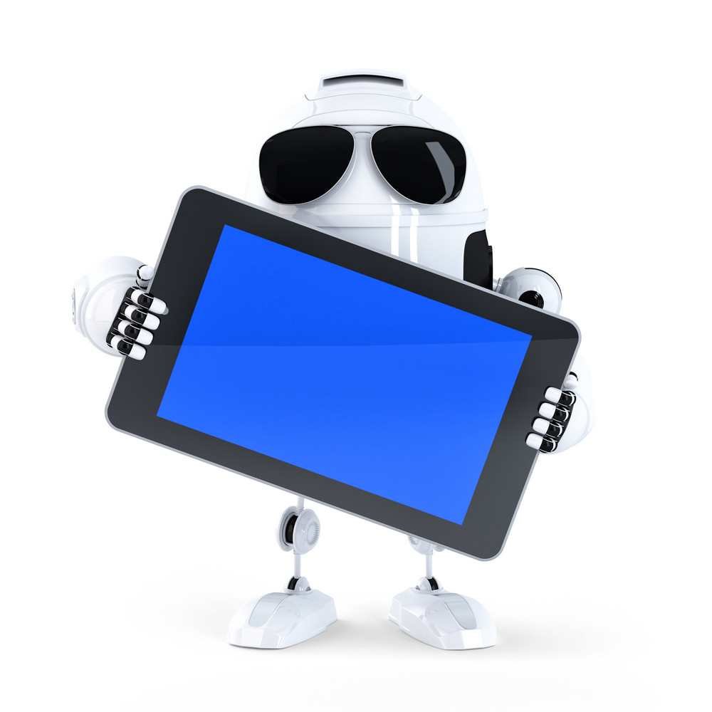 Android Robot Holding Blanc Screen Mobile Device