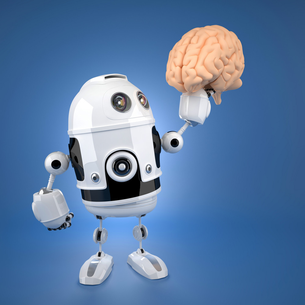Android Robot Holding Brain