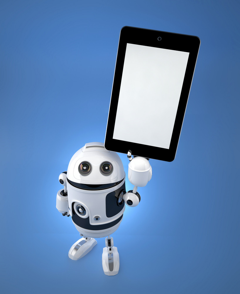Android Robot With Blank Screen Tablet Pc