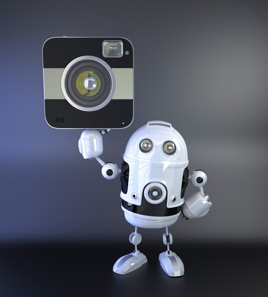 Android Robot With Dslr Squred Amera