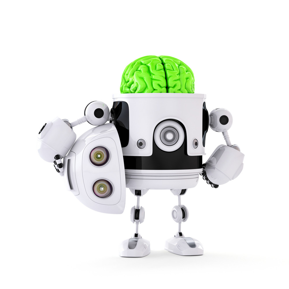 Android Robot With Huge Green Brain. Artificial Intellect Concept