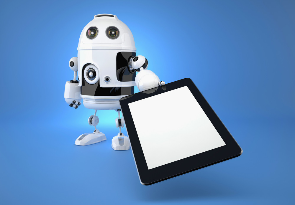 Android Robot With Touchpad On Blue Background