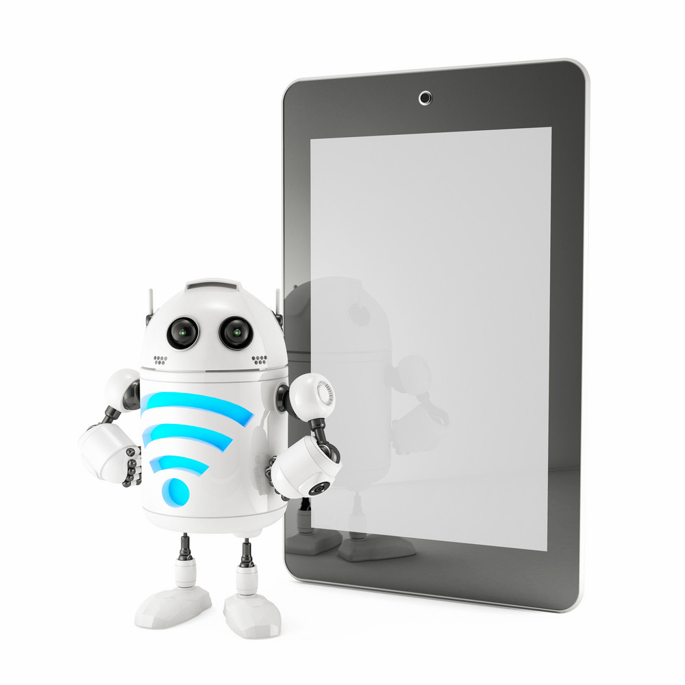 Android With Wifi Symbol And Blank Screen Tablet