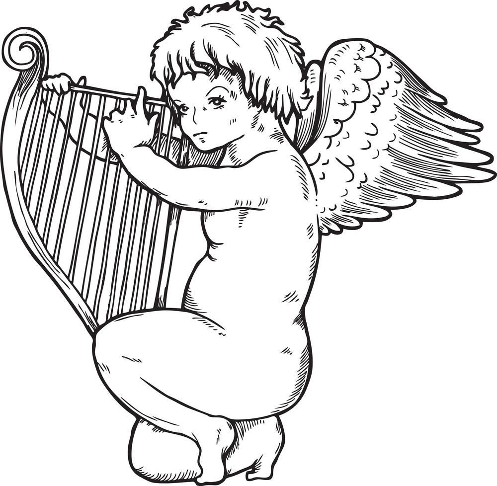 Angel Vector Element With Harp