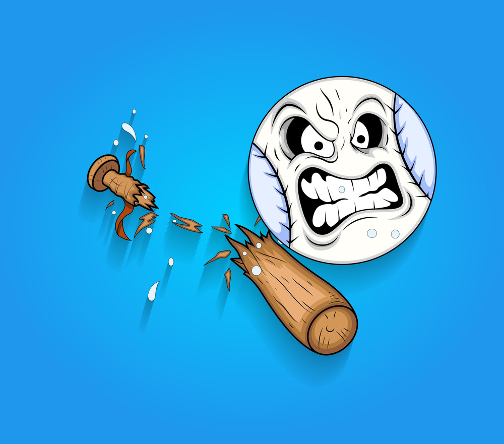Angry Ball Face With Broken Wooden Baseball Bat Vector