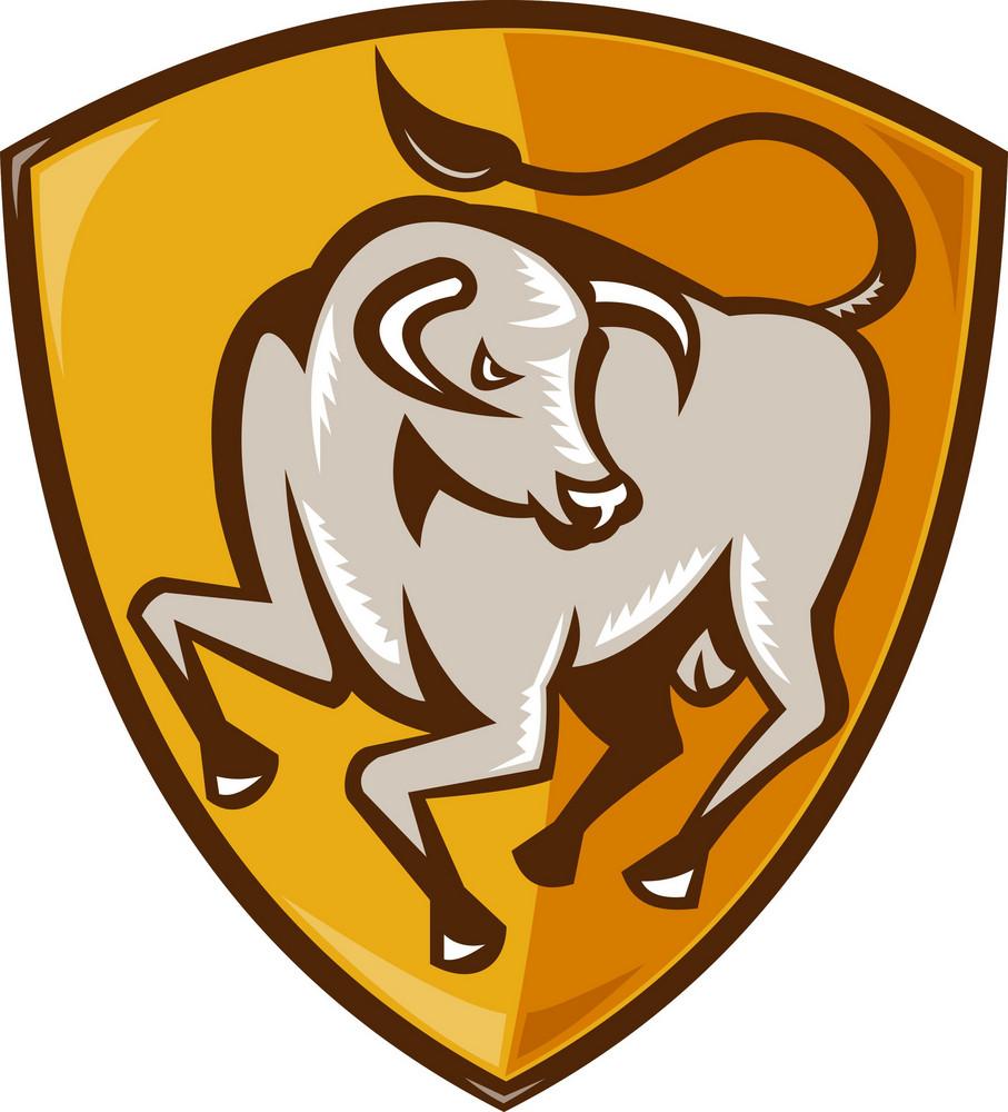 Angry Bull Attacking Shield Woodcut
