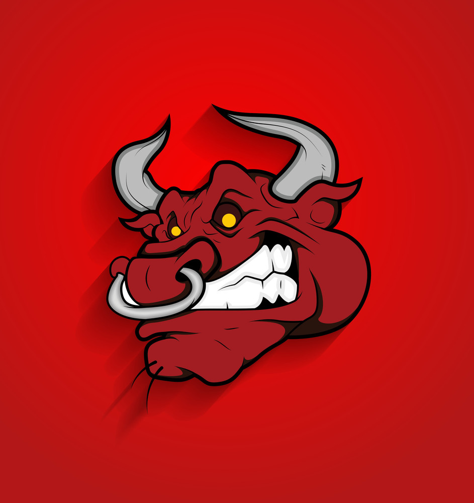 Angry Bull Face Mascot Vector