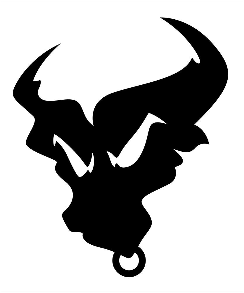 Angry Bull Silhouette Mascot Tatto Vector