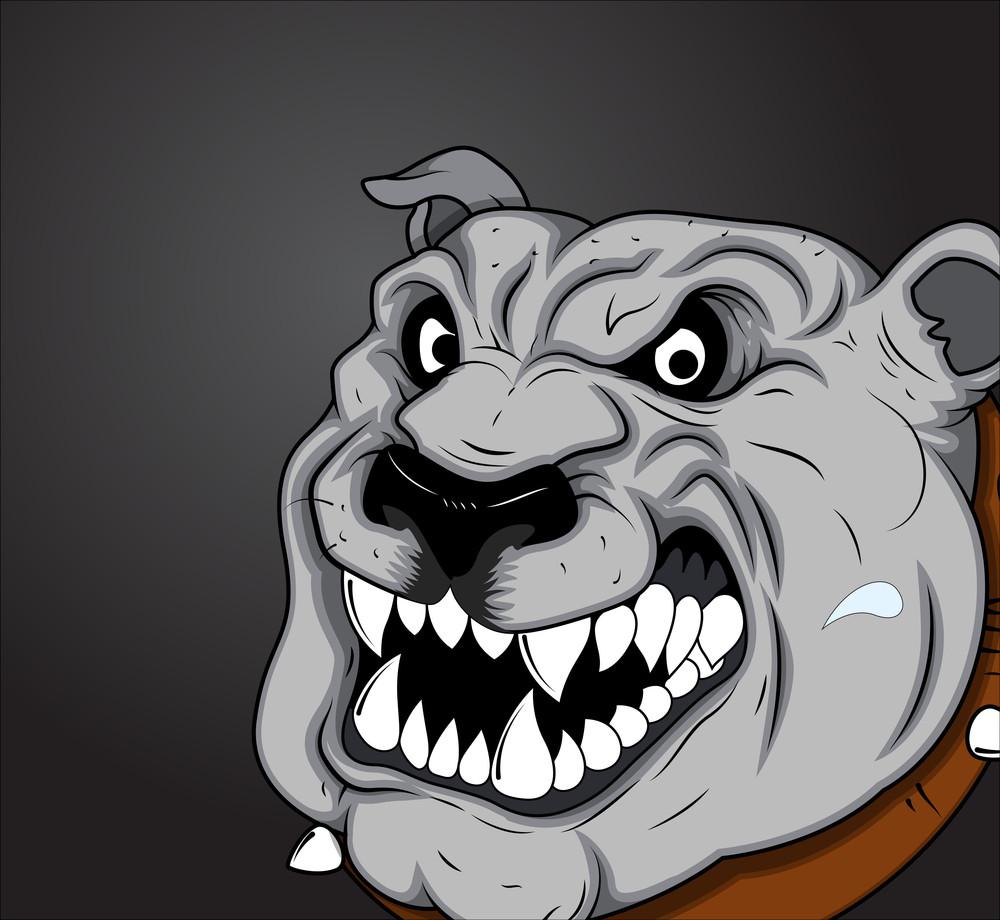 Angry Bulldog Vector Face