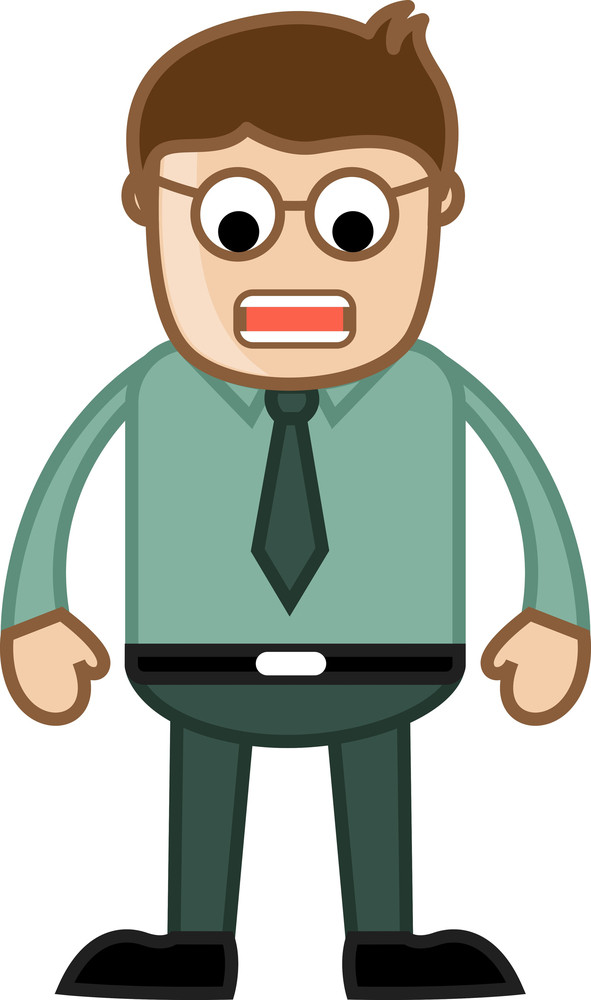 Angry Cartoon Man - Business Cartoon Character Vector