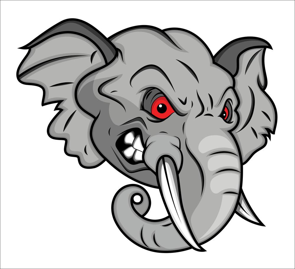 Angry Elephant Vector Mascot Illustration