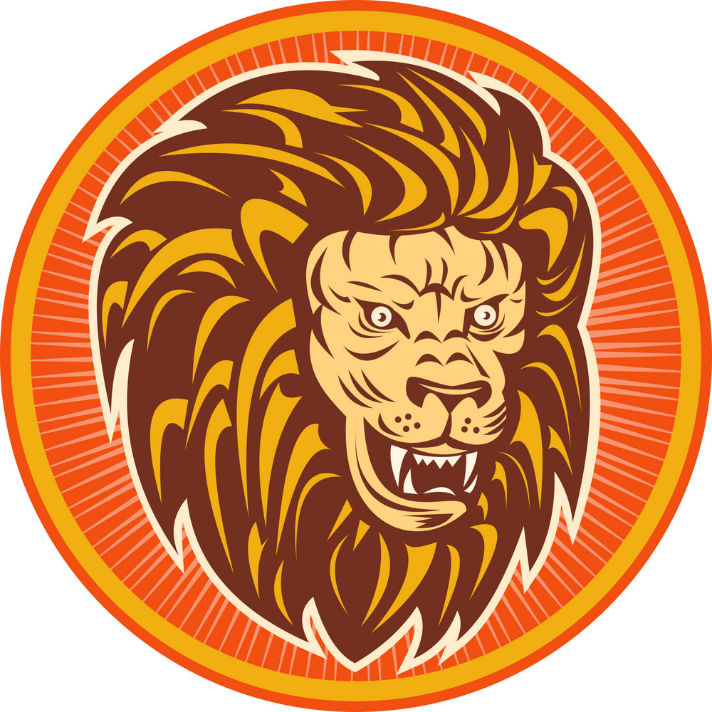 Angry Lion Head Set Inside A Circle