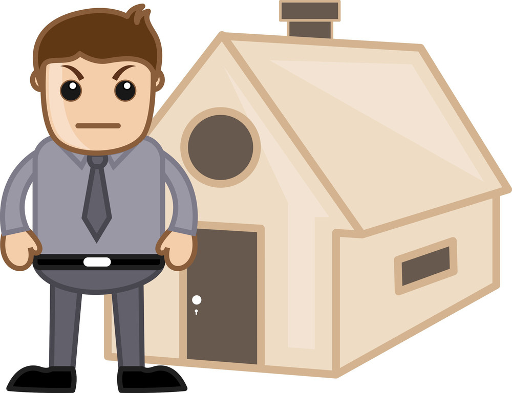Angry Man Outside A House - Real Estate Concept - Vector Character Cartoon Illustration