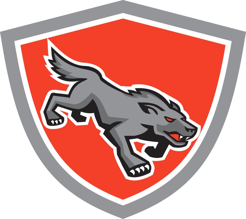 Angry Wolf Wild Dog Stalking Shield Retro