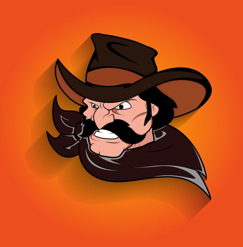 Angry Young Cartoon Cowboy Character