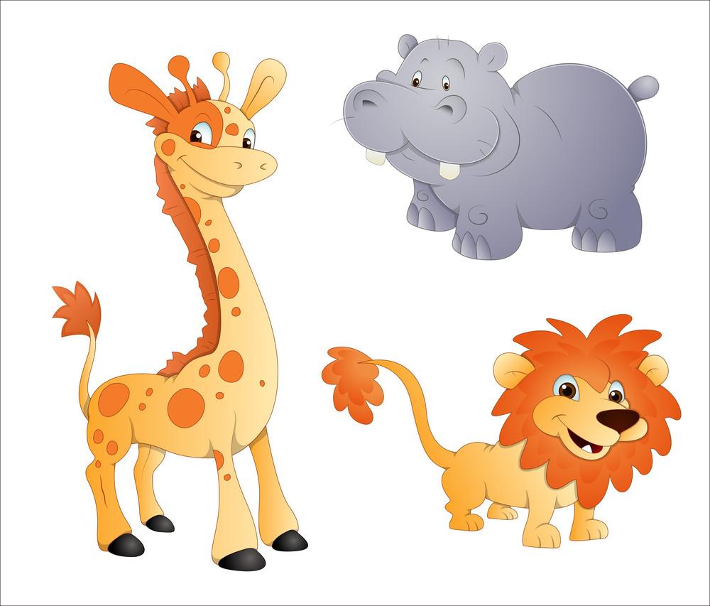 Animals Vectors Lion Giraffe And Rhino