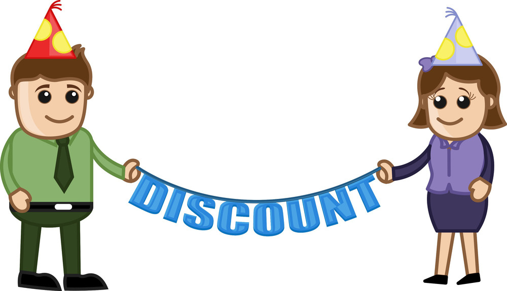Anniversary Discount - Cartoon Business Characters