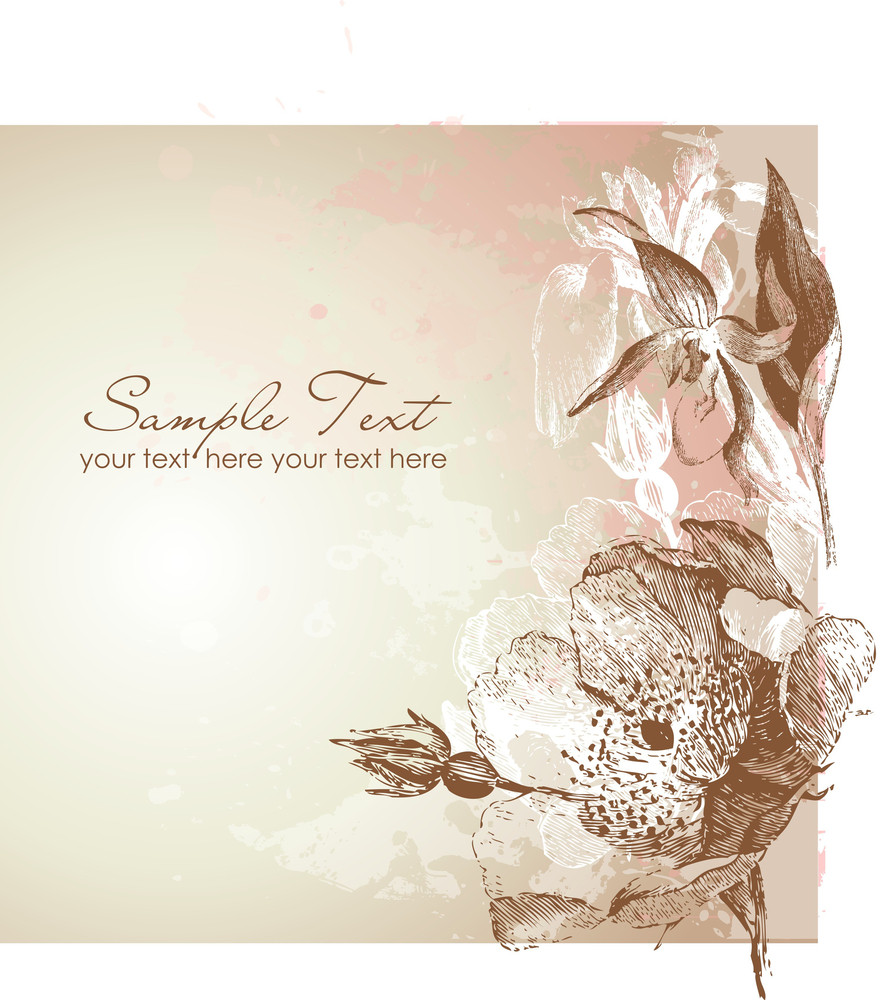 Antique Floral Card