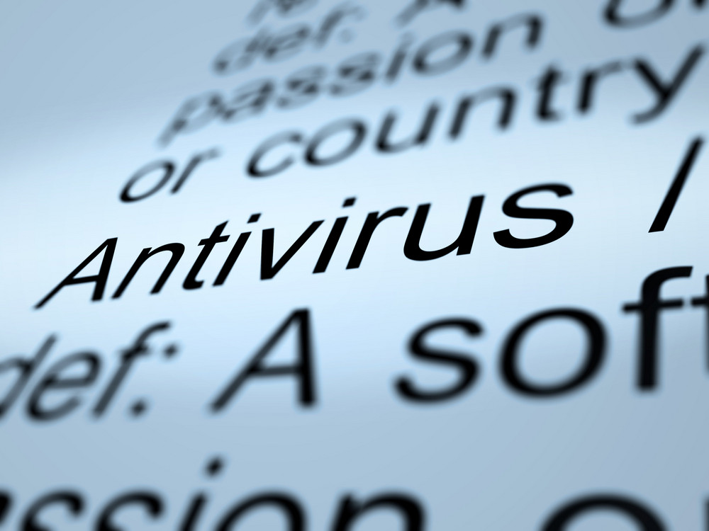 Antivirus Definition Closeup Showing Computer System Security