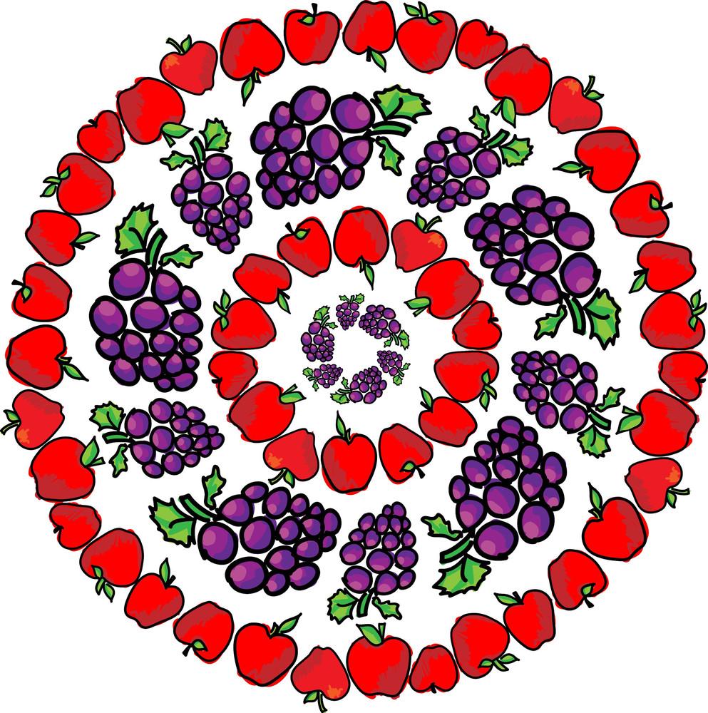 Apple & Grapes. Vector Illustration