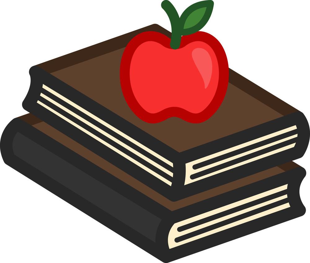 Apple On Books Cartoon