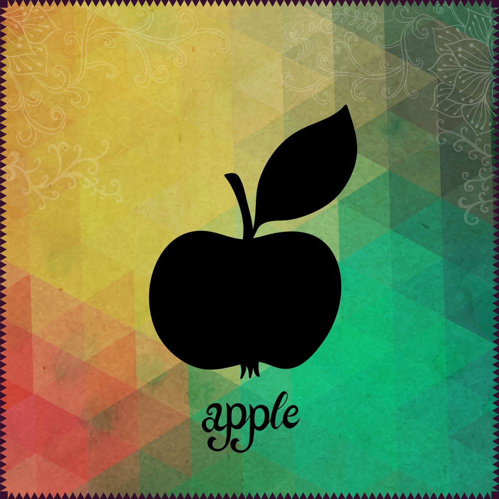 """Apple Silhouette On Hipster Background Made Of Triangles With Grunge Paper. Retro Background With Floral Ornament And Geometric Shapes.black Silhouette.vector Illustration. Label. Lettering """"apple"""""""