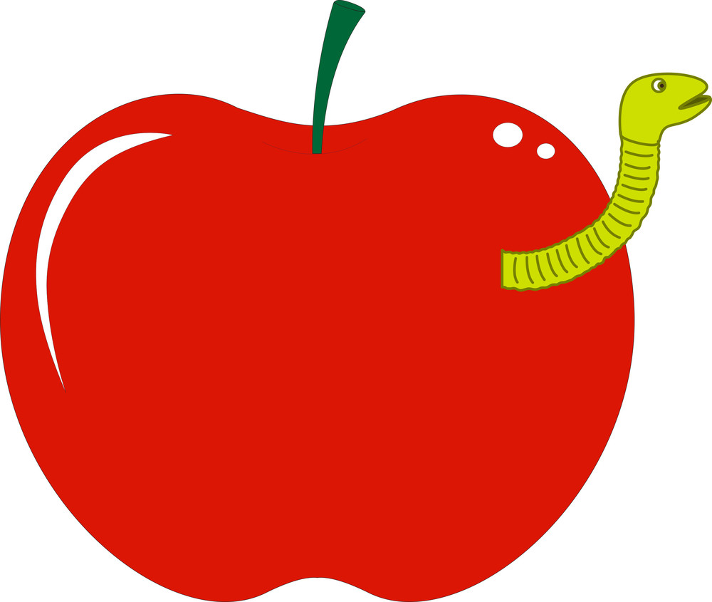 Apple With Fruit Worm