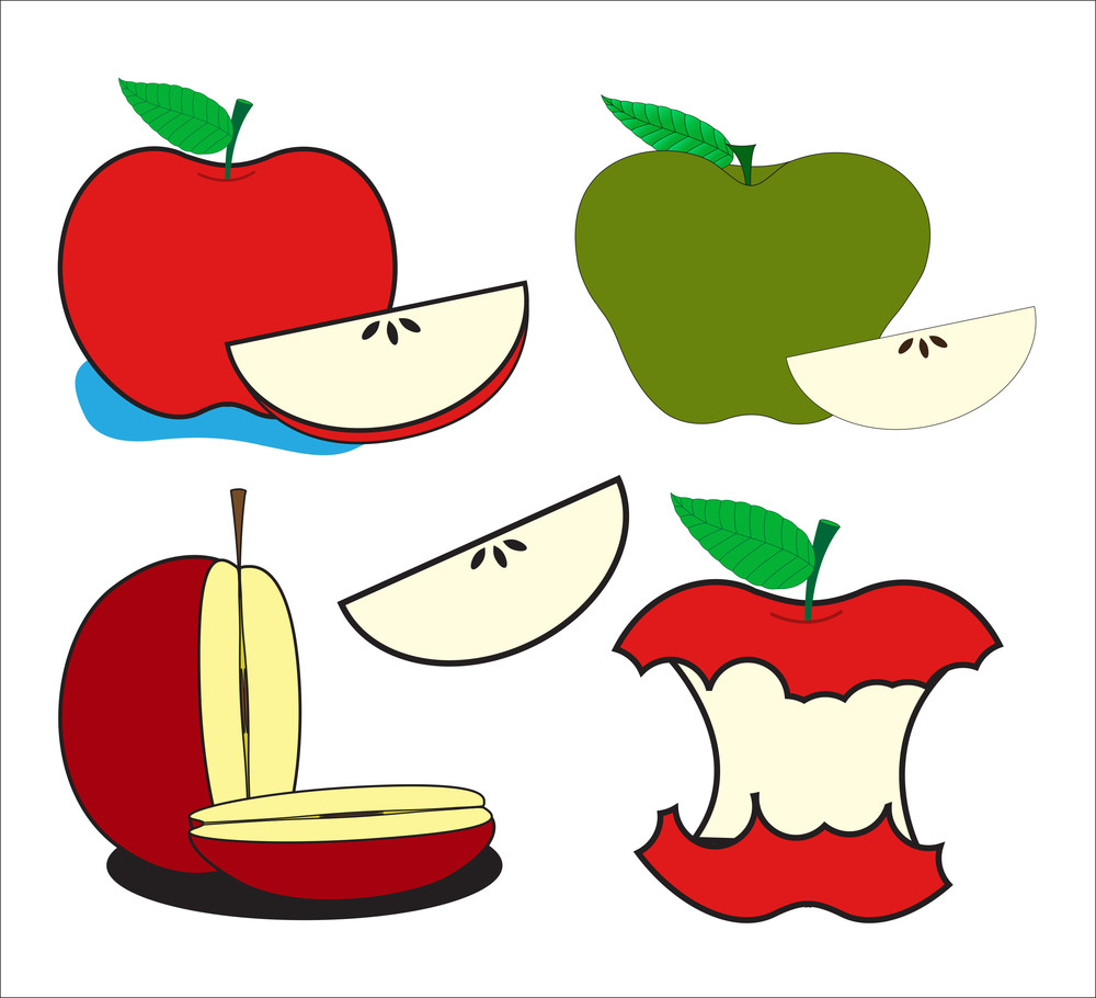 Apples And Slices Vector