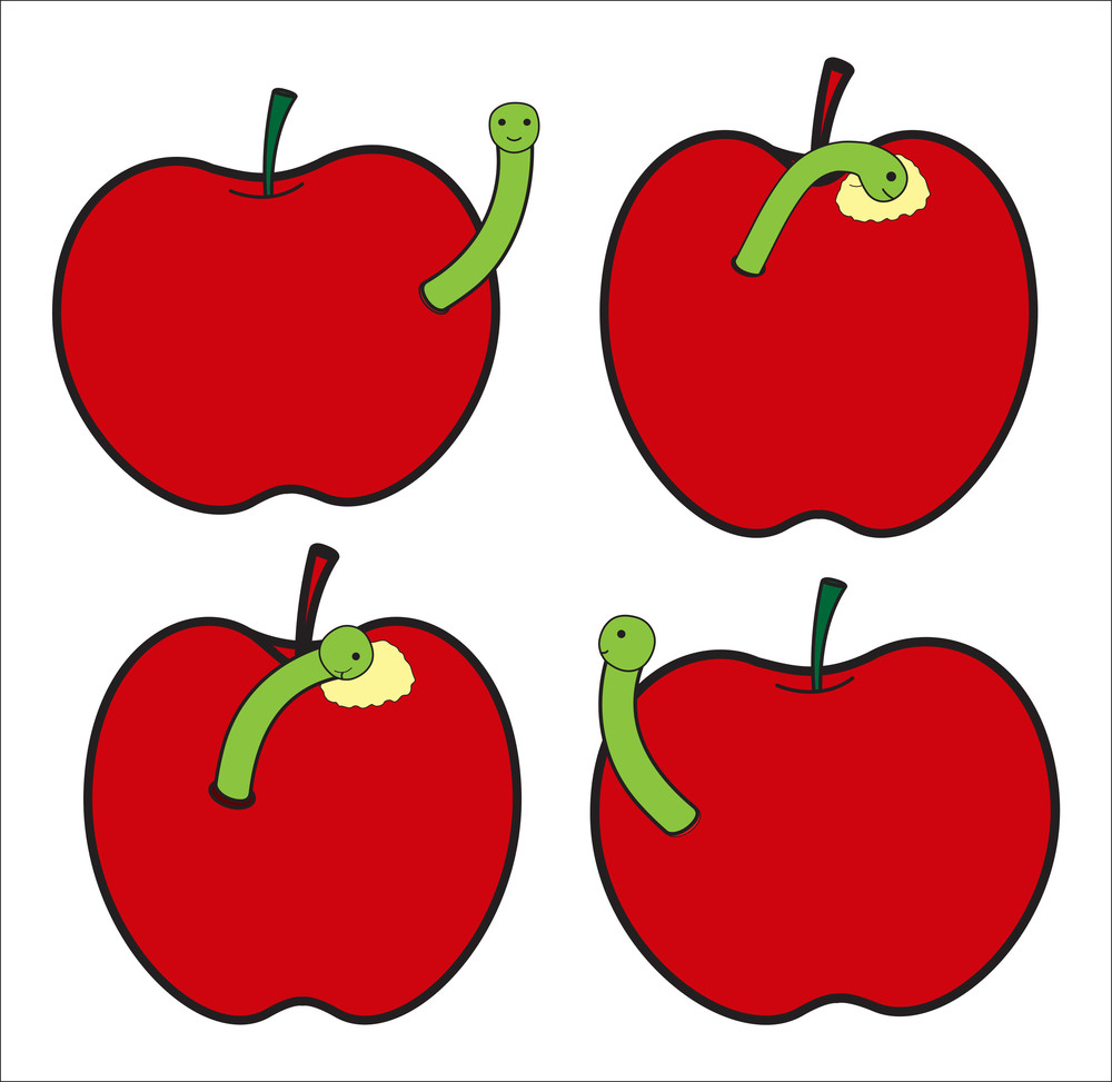 Apples With Worm Insect
