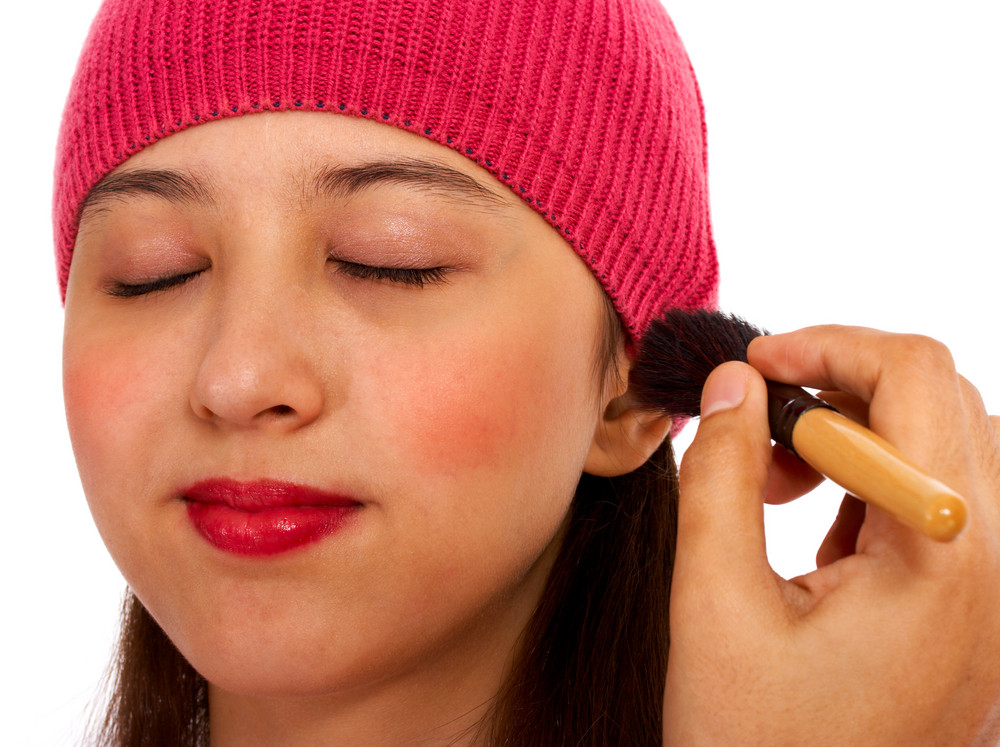 Applying Blusher Cosmetic Makeup