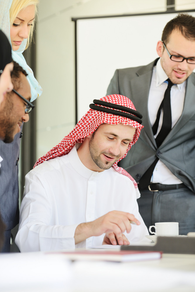 arabic people having a business meeting royalty free stock image