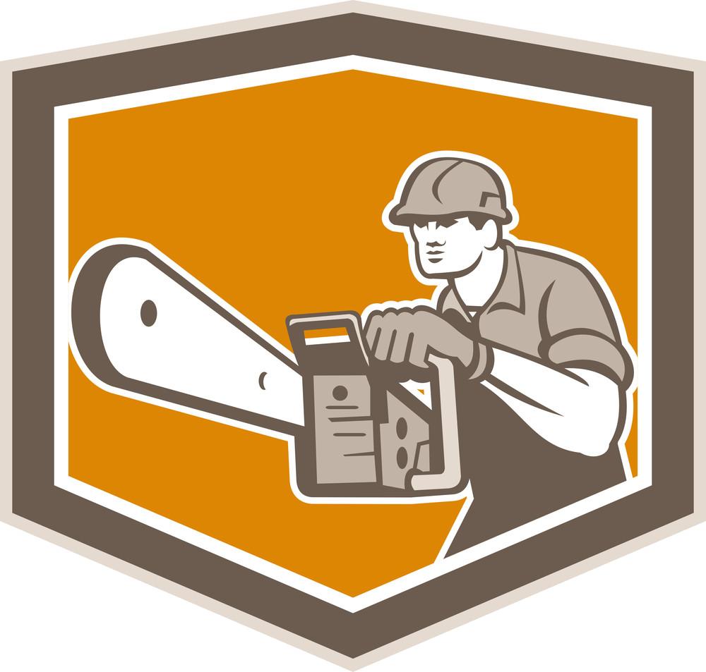 Arborist Lumberjack Operating Chainsaw Shield