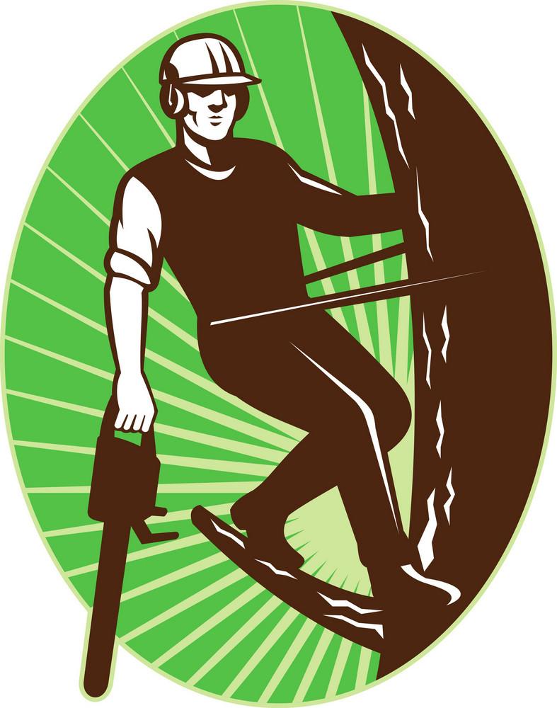 Arborist Tree Surgeon Chainsaw Retro