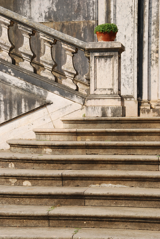Architectural Detail Of A Antique Staircase With Stone Steps