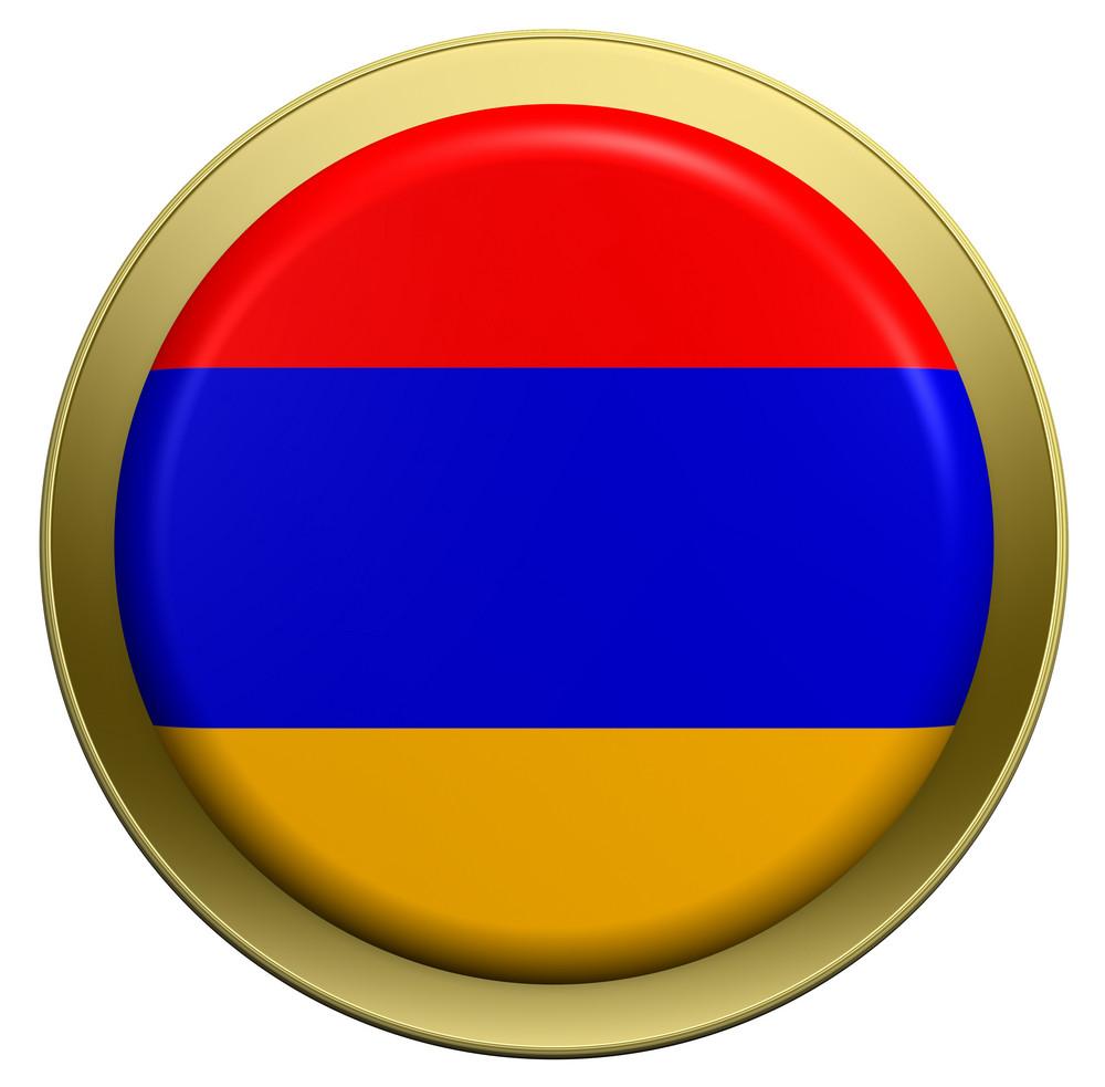 Armenia Flag On The Round Button Isolated On White.