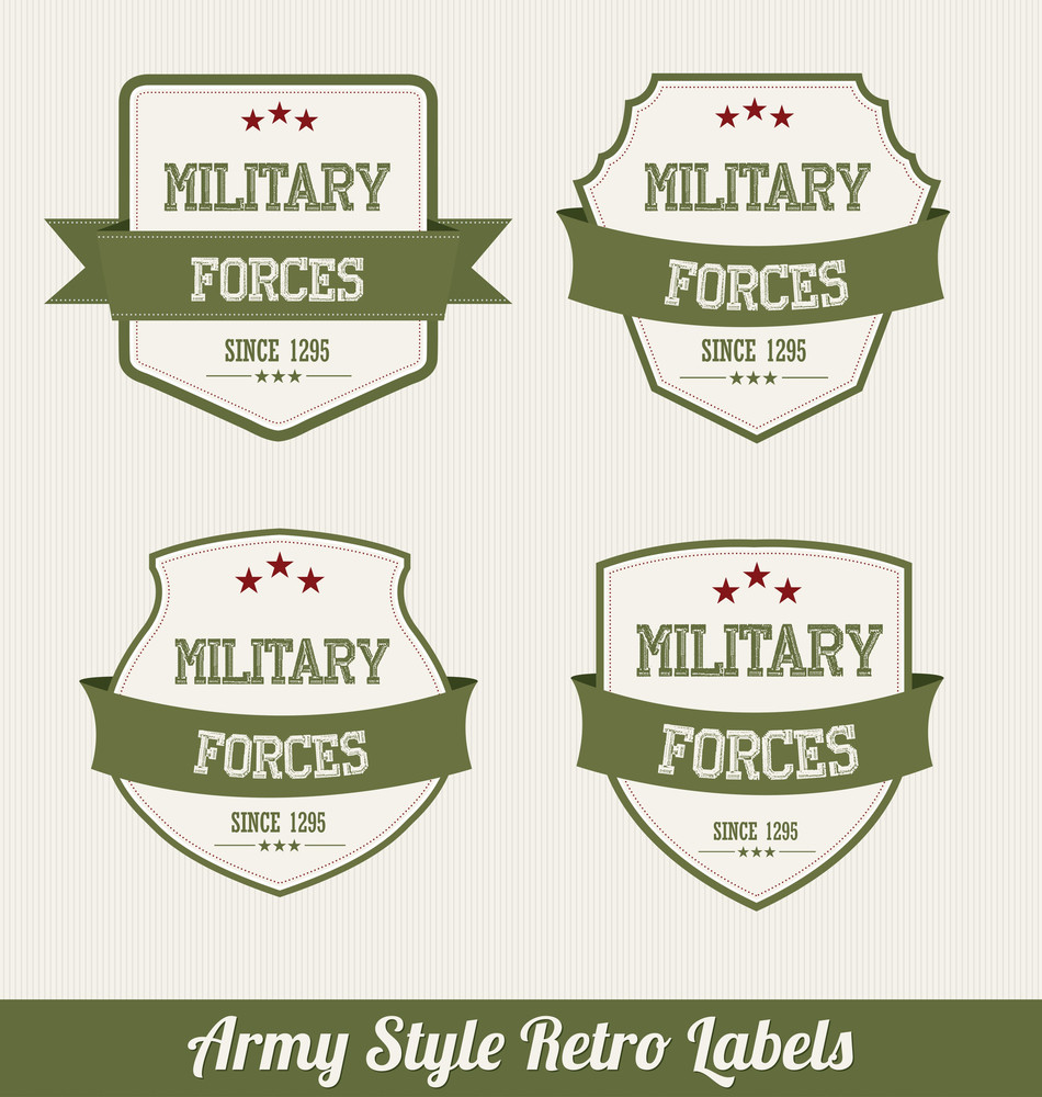Army Style Retro Labels