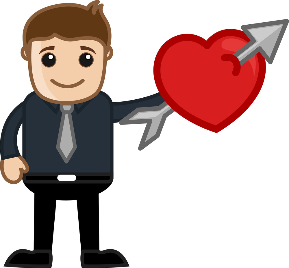 Arrow And Heart Cartoon Character Man